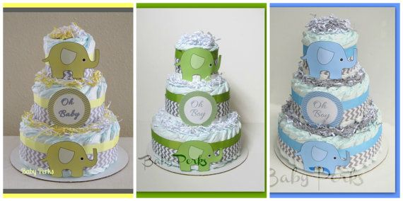 Yellow and Grey Baby Shower  , Elephant Diaper Cake ,Yellow and Grey Chevron ,Green & Grey Baby Shower , Grey and Green Diaper Cake