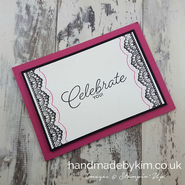 Stampin' Up! Demonstrator Kim Price - Handmade by Kim: Celebration Card using the Delicate Details Stamp Set that you can choose for free during Sale-a-Bration. Hurry - offer is only applicable until 31st March and while supplies last