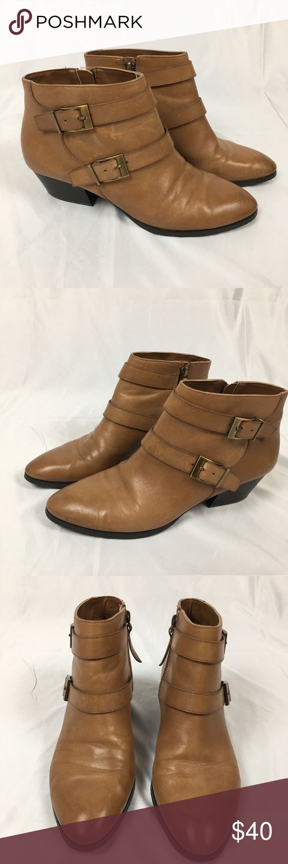 Franco Sarto Leather Ankle Boots Tan Great condition Franco Sarto tan leather ankle boots with buckles and zipper. 2 inch heel. Size 8.5W Franco Sarto Shoes Ankle Boots & Booties