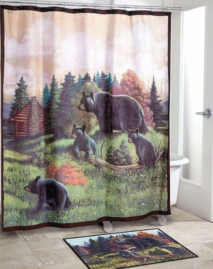 Black Bear Lodge Shower Curtain Durable Home Decor Stylish Bathroom Use  #curtain