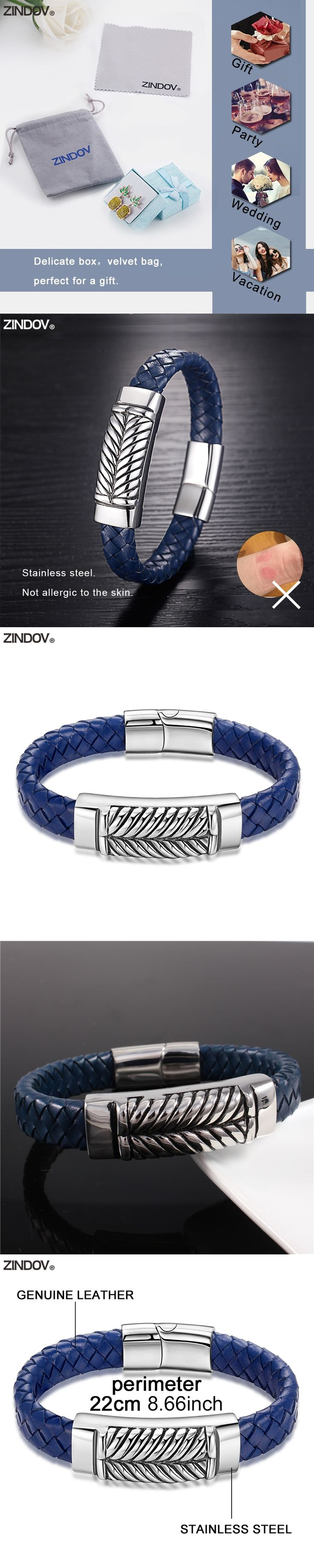 ZINDOV New Hot Genuine Leather Bracelets Bangles Men Stainless Steel Male Jewelry Navy Blue Magnetic Buckle Mens Bracelets 2017
