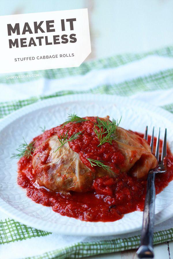 Slow Cooker Mushrooom-Lentil Stuffed Cabbage Rolls