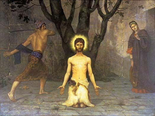 The Beheading of St. John the Baptist, 1869 by Pierre Puvis de Chavannes. Symbolism. religious painting. Barber Institute of Fine Arts, Birmingham, UK