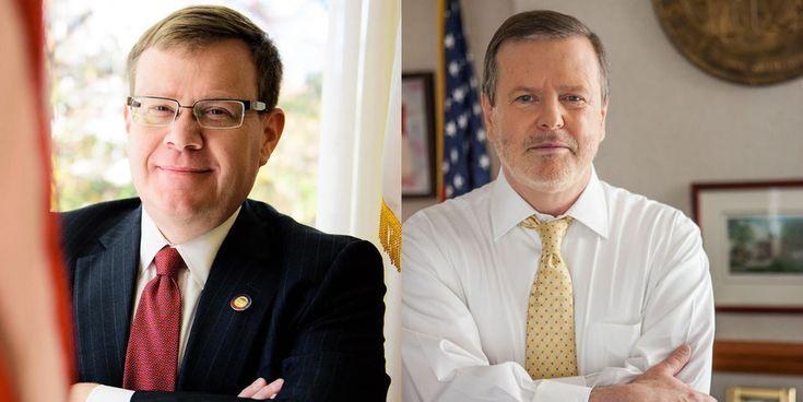 North Carolina Republican state Senate President Pro Tempore Phil Berger (R) and state House Speaker Tim Moore (L)