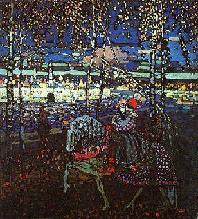 Rijdend paard - Kandinsky (1906). Moskou. Teruggrijpen naar decoratieve, Russische ziel. Volkskunst.