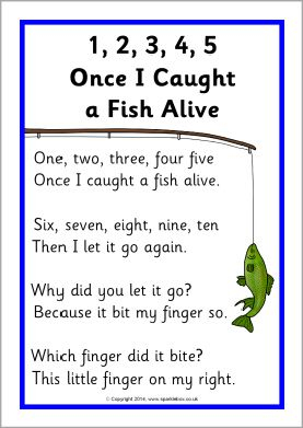 1, 2, 3, 4, 5, Once I Caught a Fish Alive song sheet (SB10735) - SparkleBox