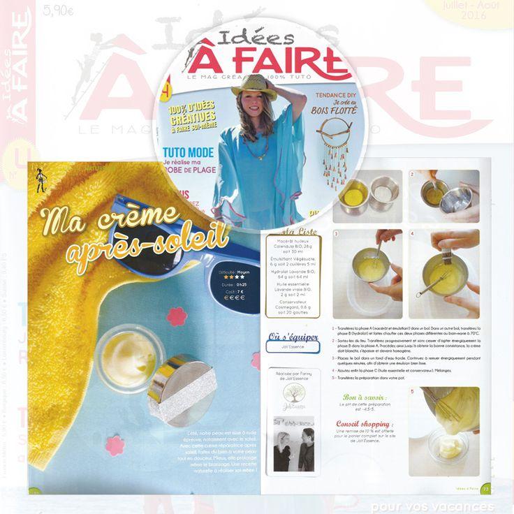 JoliEssence publié dans le magazine idées à faire - Juillet 2016