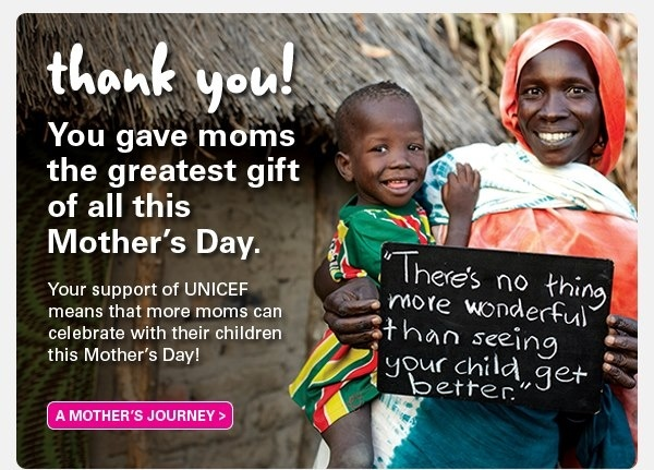 Thanks for giving moms the greatest gift of all this Mother's Day: the health of a child!   Here is the story of Hani, a courageous mother who, with the help of UNICEF, was able to see her child heal. Read more here: http://www.unicef.ca/en/success-story/a-mother%E2%80%99s-determination-0