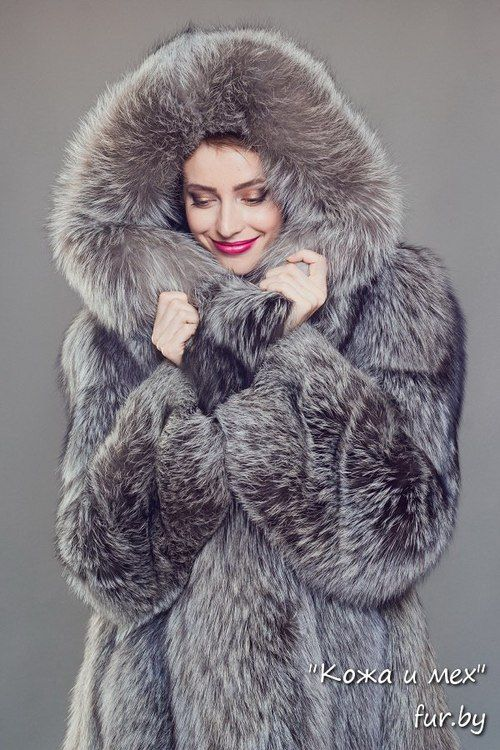 hooded silver fox fur coat | Silver fox | Pinterest