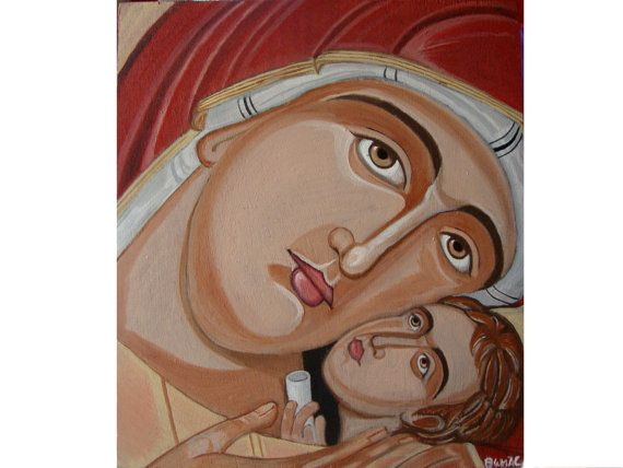 Saint Mary With Jesus Handpainted Oil by SilveradoJewellery, €78.00