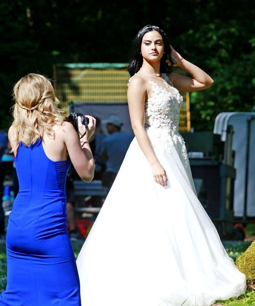 Camila Mendes and Lili Reinhart shooting Riverdale at Barnet Marine Park in Vancouver on June 26, 2017