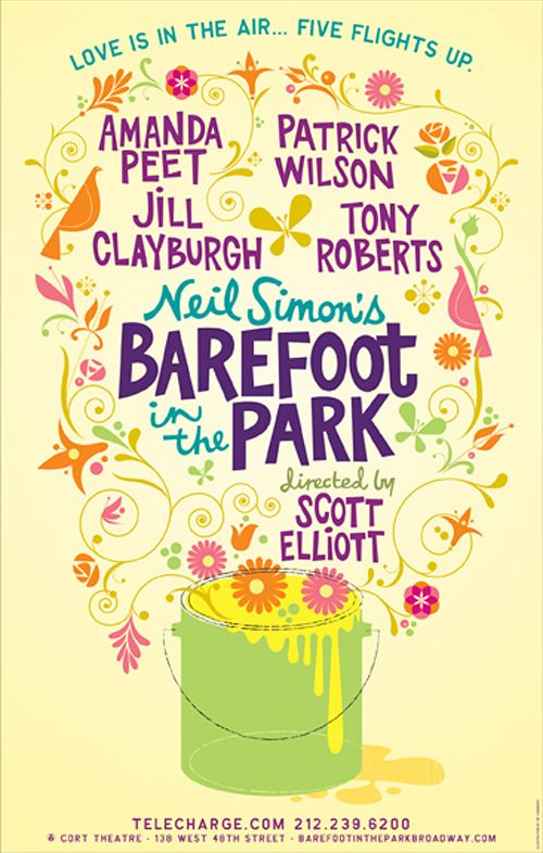 Barefoot in the Park poster by Gail Anderson | visual communication. graphic design. typography. handlettering. illustration. decorative type. decorative typography. poster design. branding.