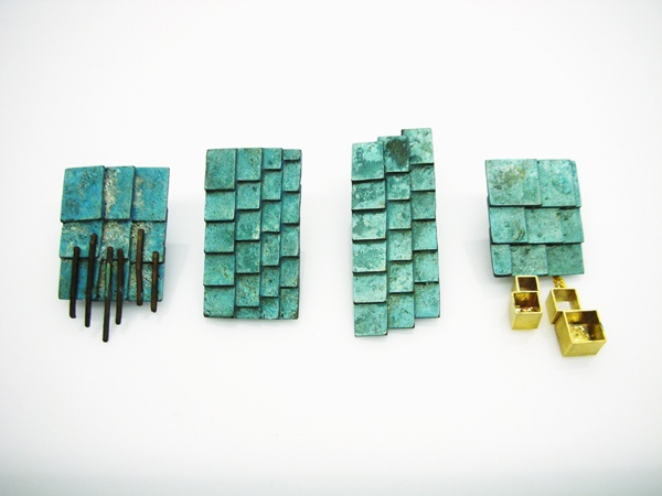 Mariko Sumioka - 'Mosaic Roof' earrings/pins in enamelled copper, silver and gold
