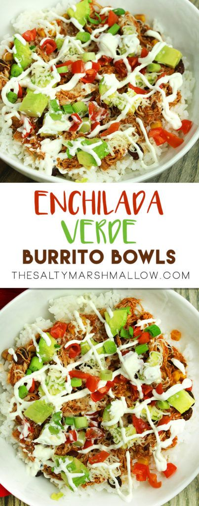 Easy slow cooker burrito bowls with shredded chicken and enchilada verde sauce!