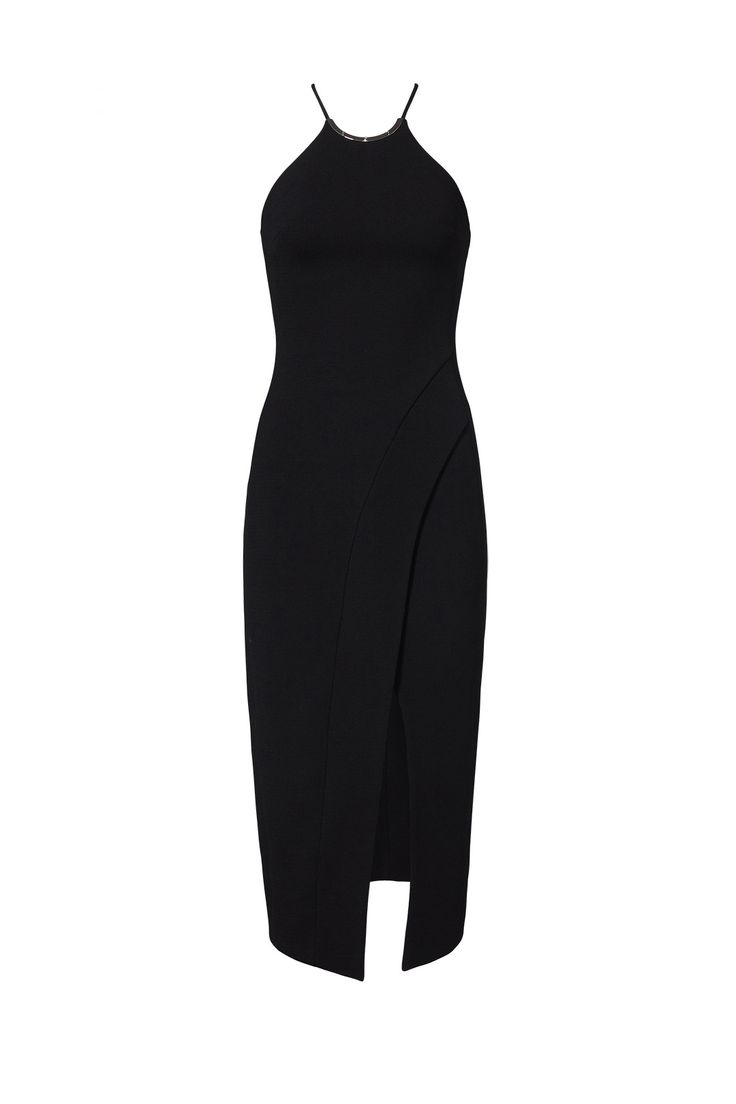 David Koma Black Hardware Halter Dress