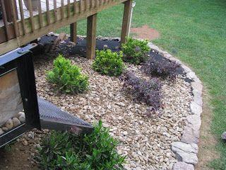 Lightsonthelake Adding In The Pea Gravel Landscaping Around Deck Under Deck Landscaping Gravel Landscaping