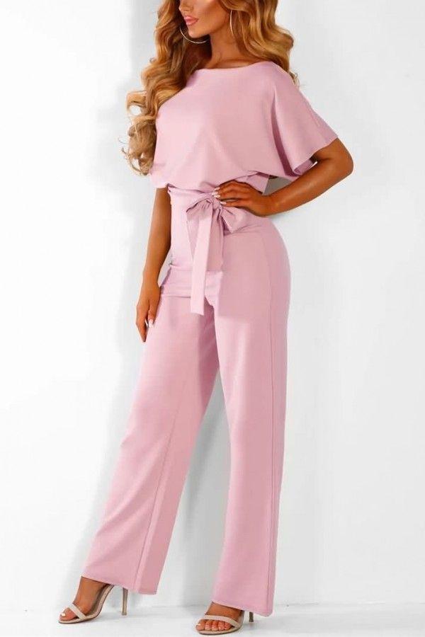 Womens Bandage Off Shoulder Long Sleeve Short Jumpsuit Ladies Summer Beach Party Work Playsuit Rompers Pink, M