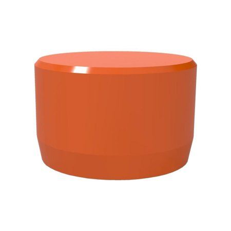 PVC Pipeworks 3/4 inch Flat End PVC Furniture Grade Cap in Orange - External Fit (4-Pack)