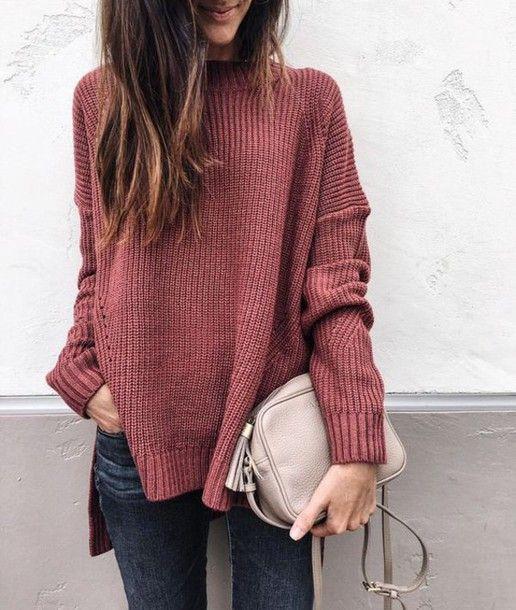 4735725952d mock neck sweater, pink sweater, chunky knit sweater, fall fashion ...