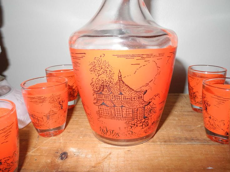 Pretty Verrerie Cristallerie D'Arques Liqueur Service Unused in Original Box. Pagoda Design. Orange Etched Pagoda Detail by ontherebound on Etsy