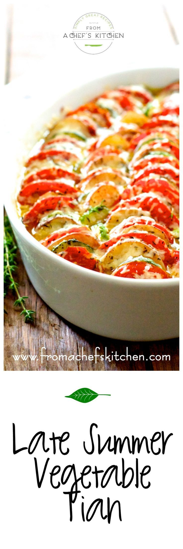 Late Summer Vegetable Tian is a beautiful Provencal-inspired side dish or vegetarian main dish.
