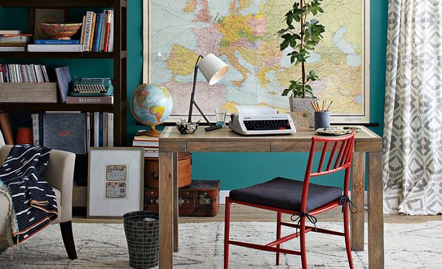 Parsons Office Ideas | west elm...natural wood desk, map on the wall, red wood chair (not an office chair)...teal walls, large bookcase that doesnt have a back. this is so what I want my home office to look like! (minus the type writter which is just dumb)