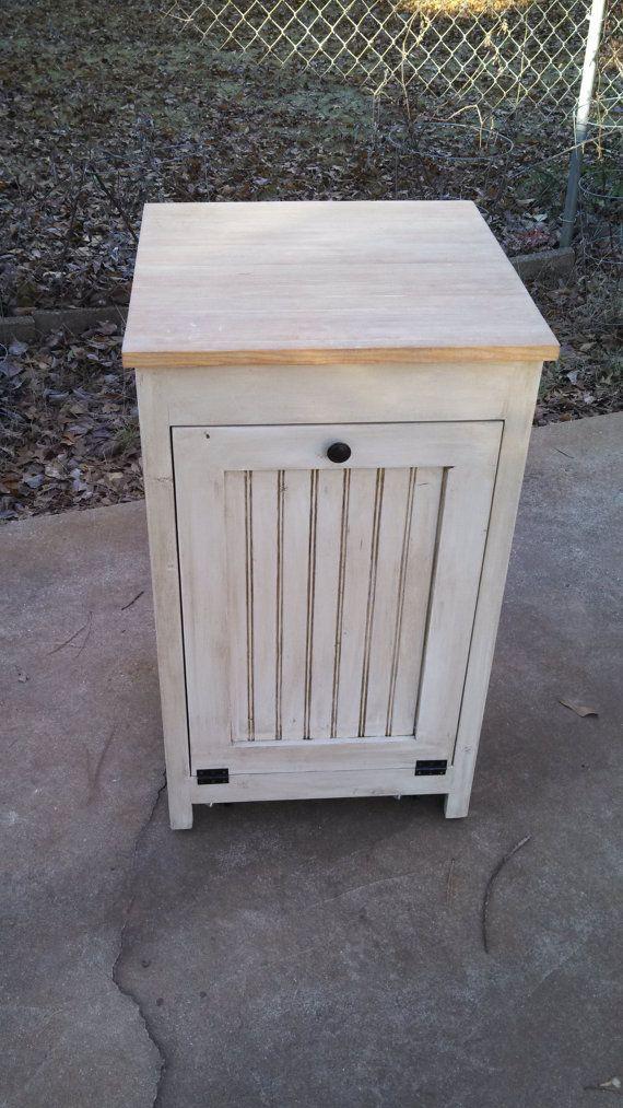 Kitchen Island Trash Garbage Cabinet Furniture Reclaimed Rustic Wood Pine Diy