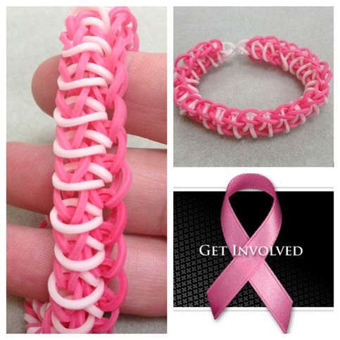 *For Charity* Rainbow loom pink and white single rhombus bracelet for Breast Cancer Awareness - donating profit