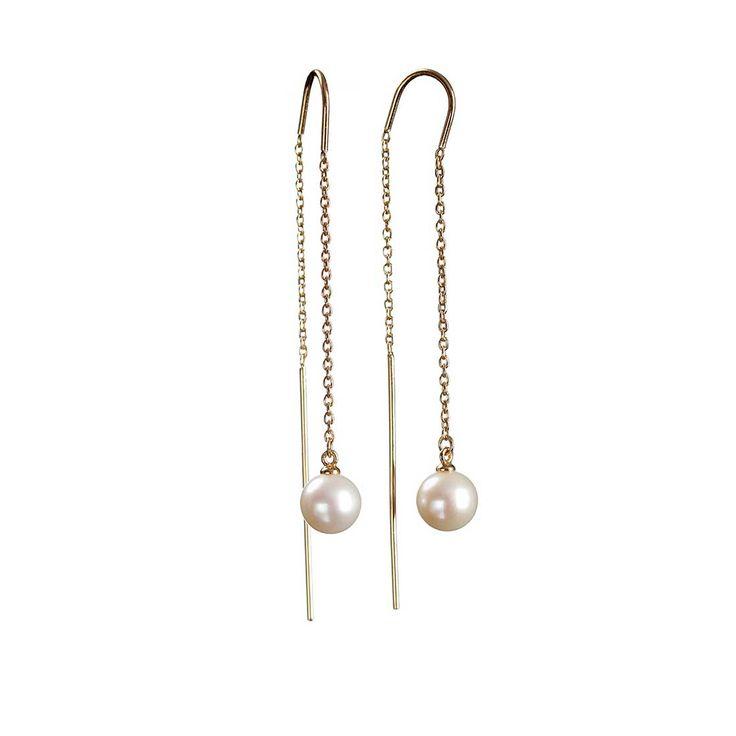 Hängande örhängen i sterling silver 925 med 18K guldplätering. De läckra örhängena har en tunn ankarkedja som avslutas med en 7 mm sötvattenspärla. Den böjd