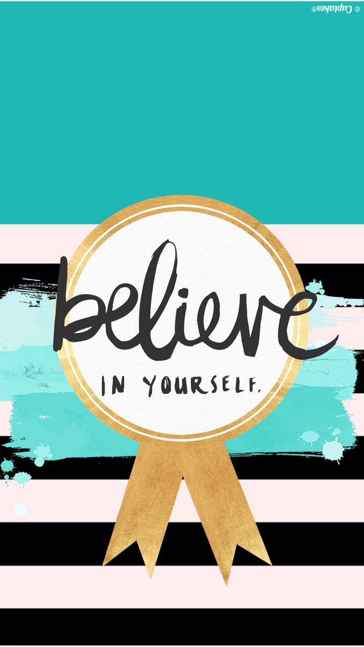 'Believe' teal gold stripes iphone phone Wallpaper background lock screen