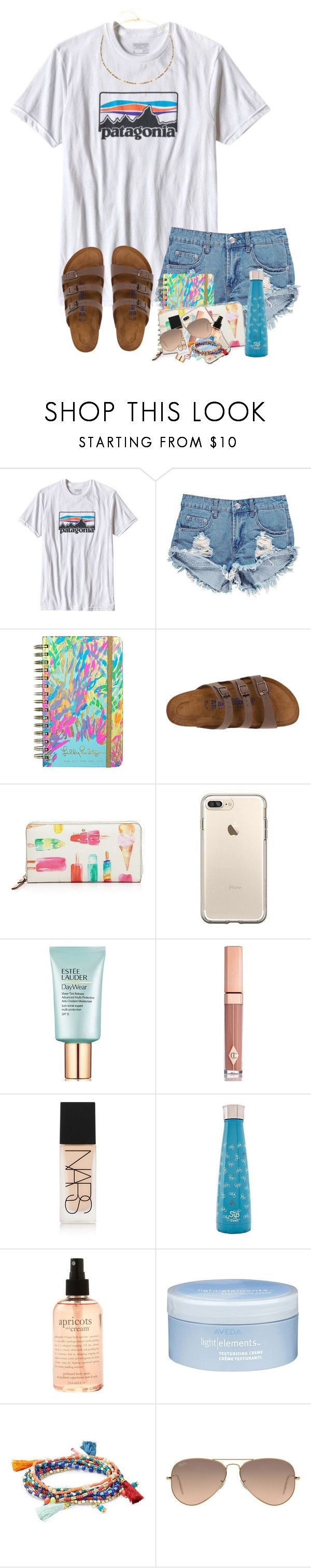 """""""Watching old Hannah Montana eps"""" by zoejm ❤ liked on Polyvore featuring Patagonia, Boohoo, Lilly Pulitzer, Birkenstock, Kate Spade, Estée Lauder, Charlotte Tilbury, NARS Cosmetics, S'well and philosophy"""