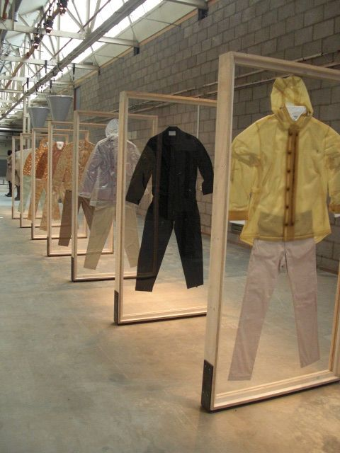 I kinda wish all my clothes were mounted this way and every morning i could walk infront of the frames and look in the mirror....ha! would take up more closet space