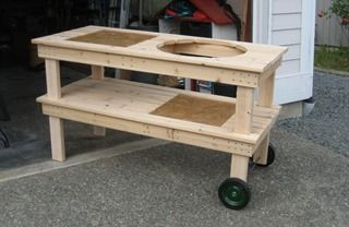 DIY Big Green Egg table!  No way could I justify the ridiculous amount of money they charge for this.