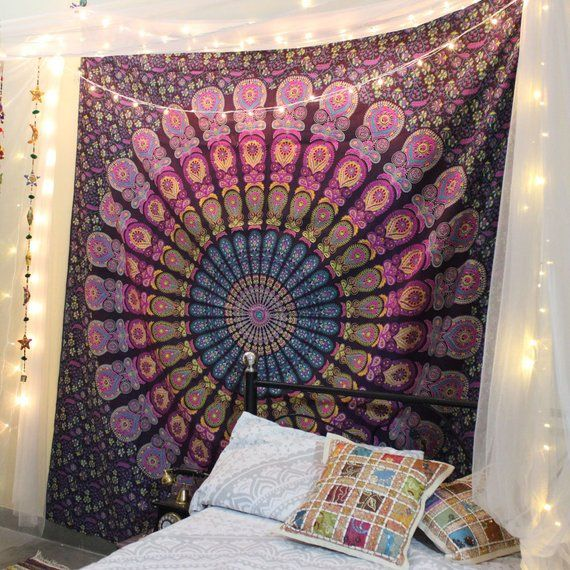 Purple And Pink Mandala Tapestry Wall Hanging Bohemian Bedding