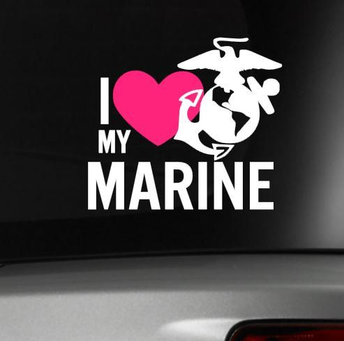 I Love My Marine Car Decal  USMC  Military wife girlfriend