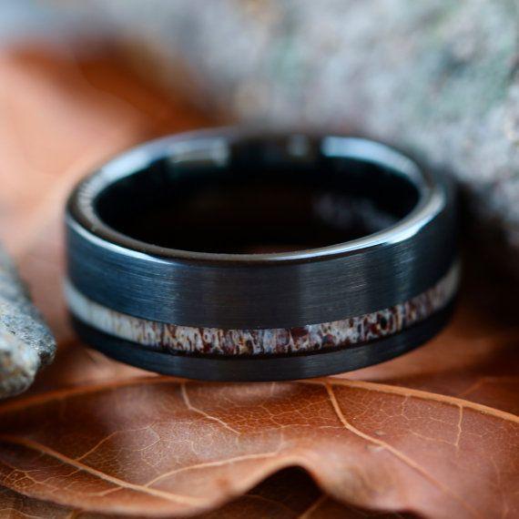 Black Tungsten Deer Antler Ring Mens Band by KingswayJewelry