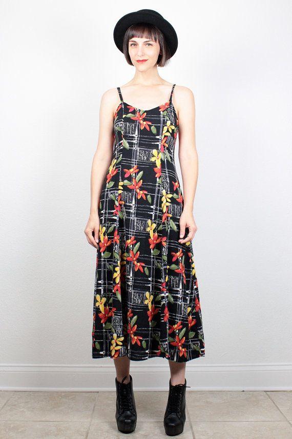 Vintage 90s Dress Midi Dress Black Yellow Red Green Floral Print Sundress 1990s Dress Soft Grunge Dress Draped Indie Hipster Dress M Medium by ShopTwitchVintage #vintage #etsy #90s #1990s #dress #midi #sundress #grunge #softgrunge
