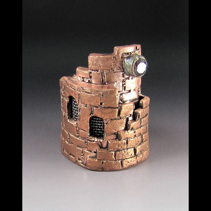 Sculptural Miniature Castle Ring of Copper Metal Clay - Laura Bracken