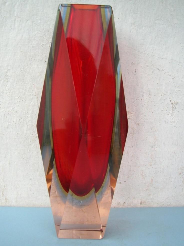 1950s Sommerso Triple Cased Art Glass Vase