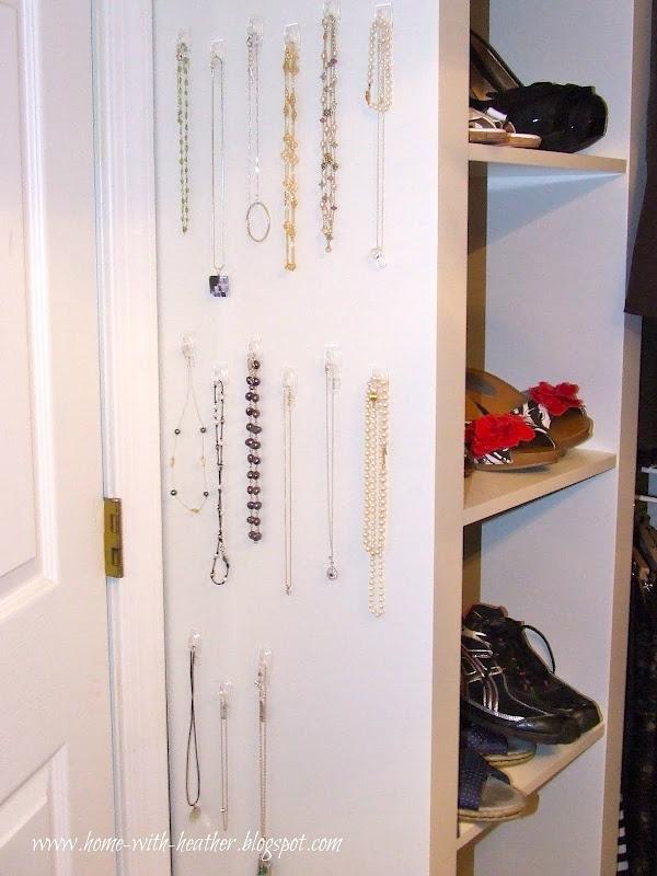 Command Hook Jewelry Organization @ Www.home With Heather.blogspot.com