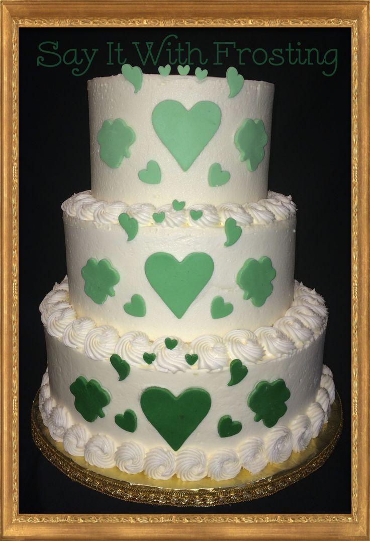 Pensacola Wedding Cakes Custom Buttercream Cake With Green Ombre Hearts Shamrocks