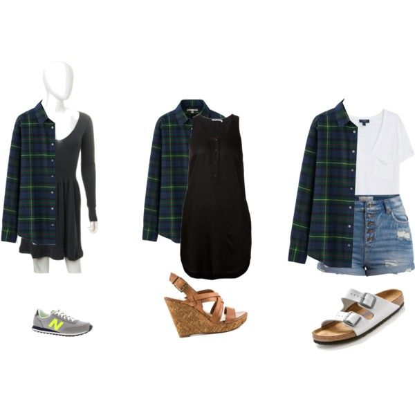 Green flannel by jasmine-adisbeth on Polyvore featuring мода, T By Alexander Wang, Uniqlo, MANGO, Pieces, Birkenstock, Jessica Simpson and New Balance