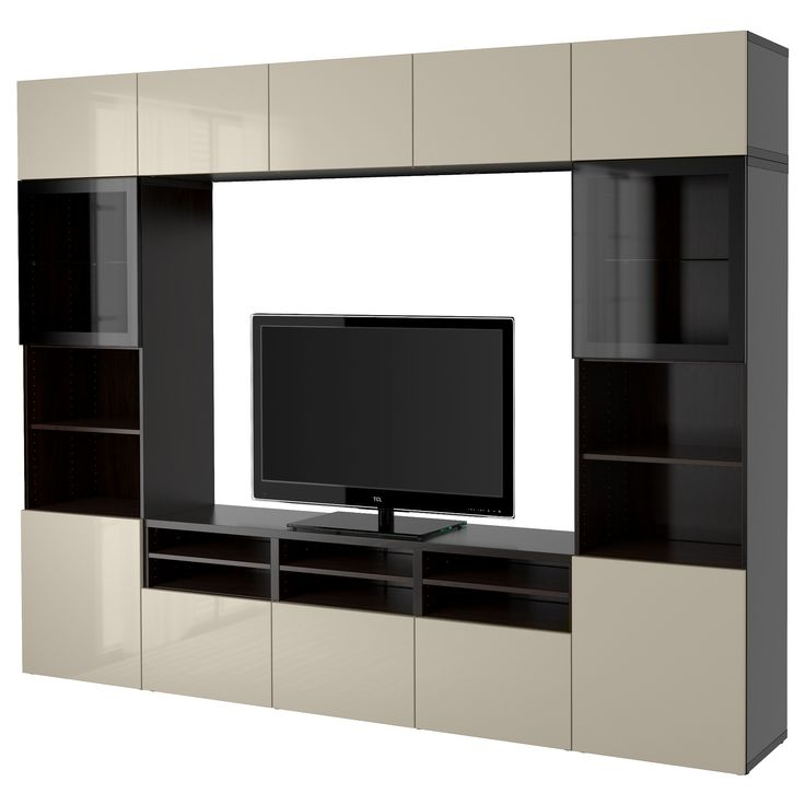 IKEA BESTÅ TV storage combination/glass doors Black-brown/selsviken high-gloss/beige clear glass 300x40x230 cm The drawer and doors have integrated...