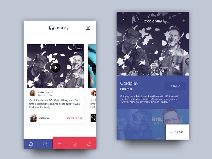 Tenory App - Homescreen and artist details by pramod kabadi