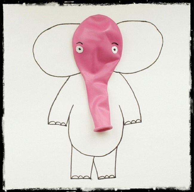 DIY Birthday Elephant Balloon Invite//