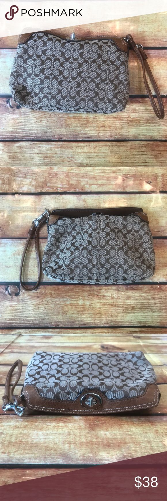 "Coach Signature Print Wristlet NWOT Coach Wristlet with Signature 'C' Print. Brand new never used - Purchased from a Coach outlet store - Measures about 8"" W x 5"" H Coach Bags Clutches & Wristlets"