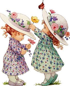 Twee meisjes met Bloemen op Hoed