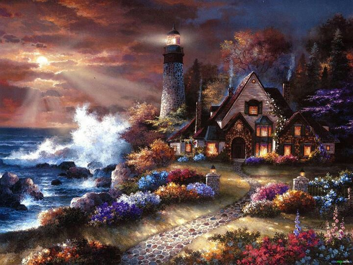 Seaside Hideaway | Artist: Thomas Kinkade He was an amazing artist!  I love his paintings. They are so beautiful <3