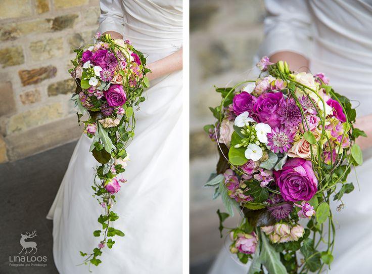Bunter Brautstrauß mit pinken Rosen