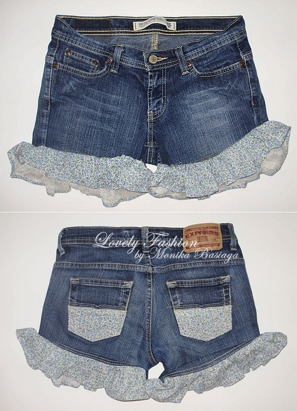 denim shorts with floral trouser-legs